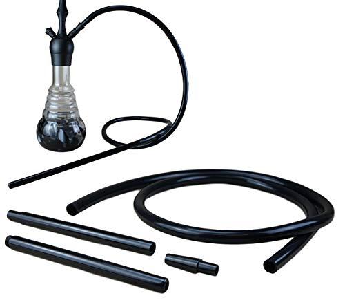 Bayli 2er Set 1,9m Soft Touch Shisha Silikonschlauch Schwarz mit Aluminium Mundstück + Adapter für Hookah   Ersatzschlauch für Wasserpfeife
