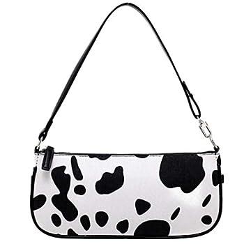 Amosfun Fuzzy Bag Accessories Purse Cow Print Purses for Women Shoulder Furry Bags Fluffy- Cow Printing Underarm Bag Fashion Shoulder Bag- Armpit Bag Chain Handbag