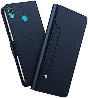 Huawei Y7 Prime 2019 シェル,[ 衝撃 吸収 ] 耐久保護ケース PU レザー 立つ 財布 カバー 耐久性のある フリップ シェル の Huawei Y7 Prime 2019 Blue