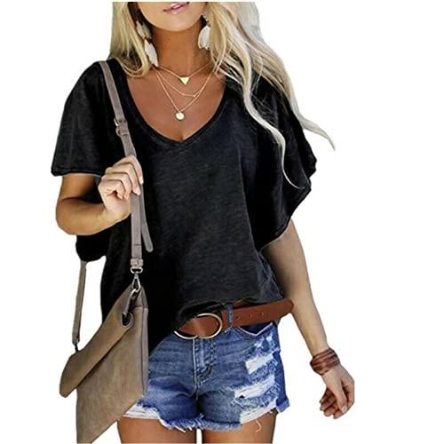 ABUCIYO Womens Summer Casual V Neck Short Sleeve Solid T Shirt Loose Tunic Blouse Tops (A,XL)