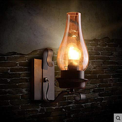 RDJSHOP Lámpara de pared retro de estilo industrial americano, simple y creativa lámpara de pared del pasillo dormitorio de hierro forjado, aplique de cabeza individual, aplique de queroseno