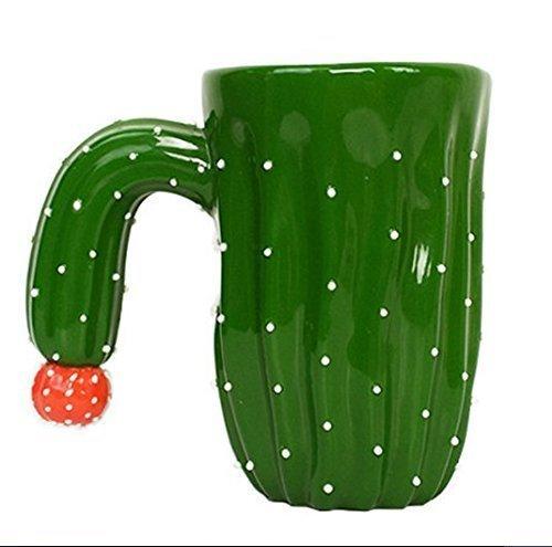 Urgrace NEUF Vert cactus en céramique de style Tasses Réservoir à eau Tasses Craetive Thé Lait Café Mug avec poignée spéciale Porcelaine pliables anniversaire cadeaux de Noël