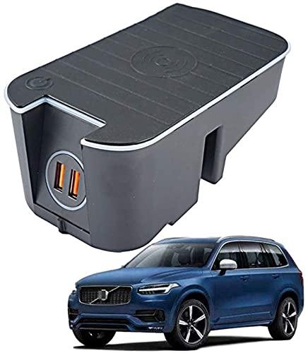 Cargador Inalámbrico Automóvil para Volvo XC90 XC60 S90 V90 V60 S60 2019 2020 15W QC3.0 Cargador Teléfono de Carga Rápida con Dos Puertos USB de 18W Panel de Accesorios de La Consola Central de Volvo