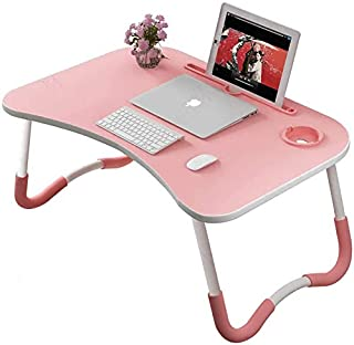 Foldable Laptop Table Tray Portable Lap Desk Notebook Stand with ipad Holder Cup Slot for Indoor Outdoor Camping Study Eat...