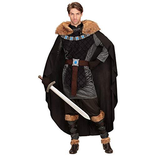 Amakando Außergewöhnliches Kelten-Kostüm mit Fake Fur Umhang / Schwarz-Grau M (50) / Historische Herren-Verkleidung Wikinger & Ritter / Perfekt geeignet zu Mittelalterfest & Karneval