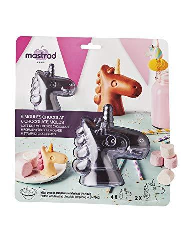 mastrad F48242 Lot De 6 Moules Demi 2 Tailles Différentes – Licornes en Chocolat – Gouter & Anniversaire, Plastique, Transparent, 23 x 7 x 25 cm