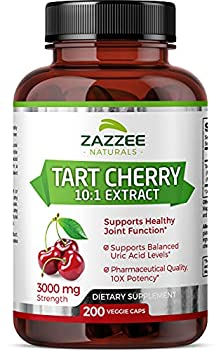 Zazzee Tart Cherry Extract Capsules 200 Vegan Capsules 3000 mg Strength Potent 10 1 Extract Over 6-Month Supply Vegan Non-GMO and All-Natural