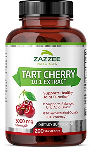 Zazzee Tart Cherry Extract Capsules, 200 Vegan Capsules, 3000 mg Strength, Potent 10:1 Extract, Over 6-Month Supply, Vegan, Non-GMO and All-Natural