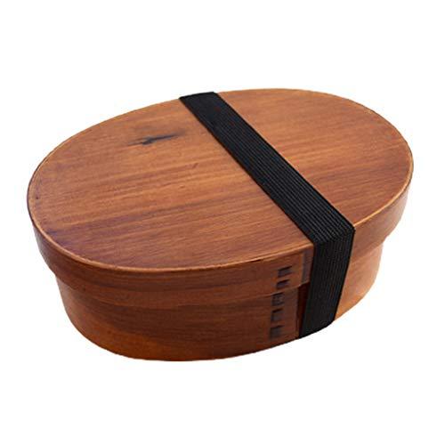 Ixkbiced Fiambrera de Sushi de Madera Ovalada Estuche Bento portátil Almacenamiento de contenedores de una Sola Capa