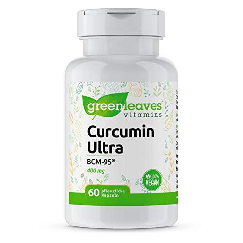 Greenleaves Vitamins - Curcumin Ultra BCM-95 60 Vegan Kapseln 400mg hochdosiert. Frei von Gluten, Soja und Milchzucker. 100% Vegan