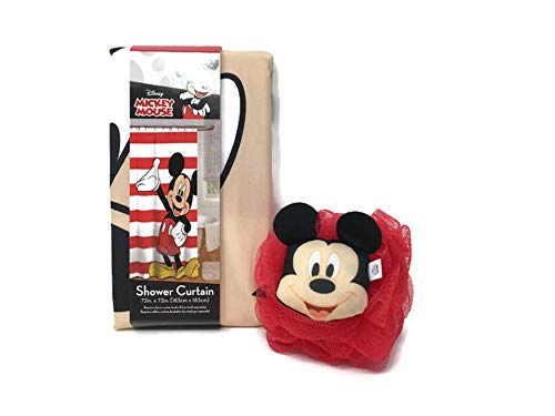 Multiple Treasures Mickey Mouse Duschvorhang & Mickey Mouse Luffa Set