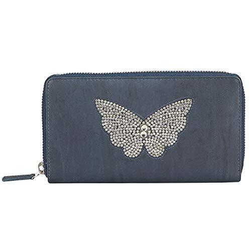 STEFANO große Luxus Damen Lederbörse aus weichem Leder Geldbörse Geldbeutel Portemonnaie Brieftasche Organizer Verschiedene Modelle (M5 blau)