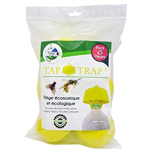 TERRA NOSTRA–Trampa para Avispas Trampa frelons Trampa Mosca Fruta Trampa Moscas los olivos ECONOMIQUE Incluye Las Recetas de cebos Tap Trap X5