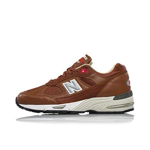 New Balance M991 Made In England Zapatillas de Deporte de Cuero marrón Claro y Blanco