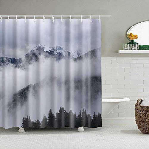 JOOCAR Design Duschvorhang, schöne Naturlandschaft Wald Wolke Meer, wasserdichter Stoff Stoff Badezimmer Dekor Set mit Haken