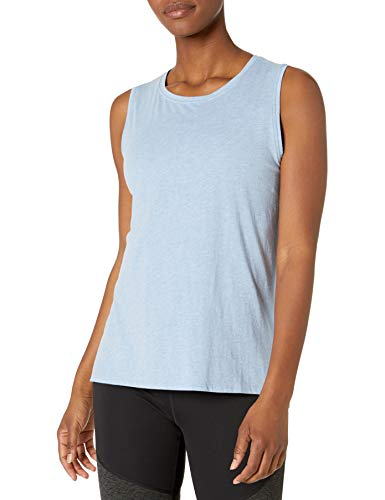Amazon Brand - Core 10 Women's Pima Cotton-Blend Yoga Sleeveless Tank, Sky Blue Heather, X-Small