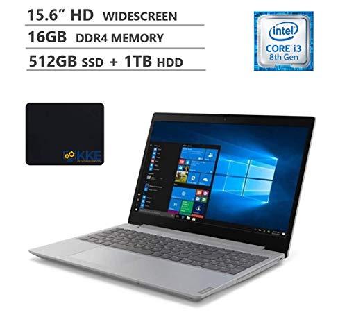 Lenovo Ideapad L340 Laptop, 15.6' HD Screen, Intel Core i3-8145U Processor up to 3.90GHz, 16GB RAM, 512GB SSD + 1TB HDD, DVD-RW, HDMI, WiFi, Win 10 Home, Platinum Gray, KKE Mousepad