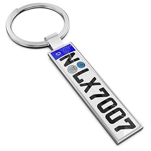 Persize - Llavero personalizable mini matrícula de coche, plata