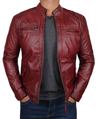 BlingSoul Slim Fit Biker Leather Jacket Men | [1100104] Johnson Real Maroon, L