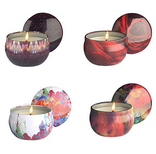 ZHANG Smokeless Soybean Wax, Tinplate Can Candles, 4 Pcs Scented Candle Ornament Home Bar Party Wedding