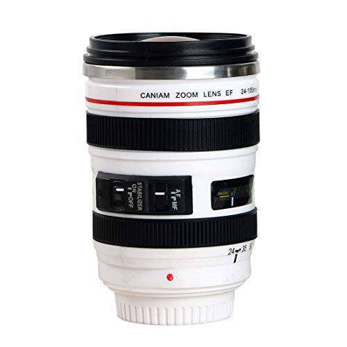 Sornean Camera Lens Coffee Mug Stainless Steel Insulated Tumbler Cup For Couples Creative Photographer Gifts (Y-White)
