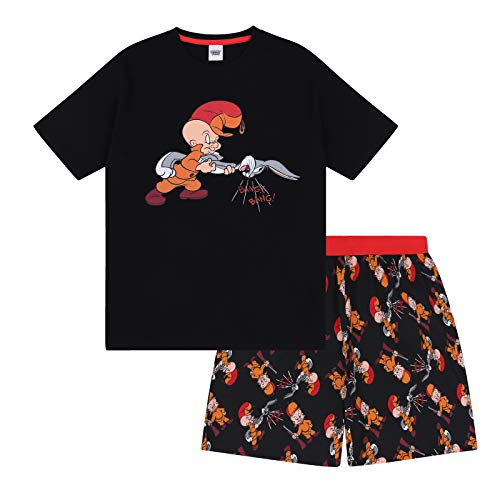 Looney Tunes - Herren Schlafanzug - kurz - mit Space Jam, Taz, Daffy Duck oder Elmer Fudd - Offizielles Merchandise - Schwarz - Elmer Fudd - L