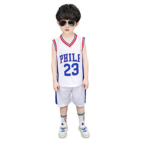 TANERDD Jungen Schnelltrocknende Basketball Jersey-Sportbekleidung, Sommerkind Ärmellose T-Shirt Trainingskleidung Match Trikot,Weiß,110cm