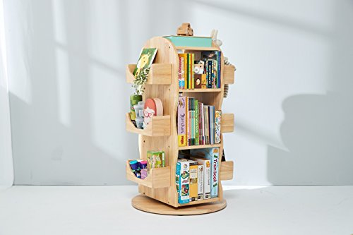 Kinder Bücherregal, Regal, drehbar, 100% Massivholz, Natur