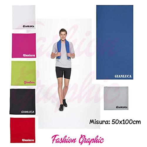 Fashion Graphic Asciugamano Telo Microfibra Personalizzato Nome Palestra Fitness Sport (Rosso)