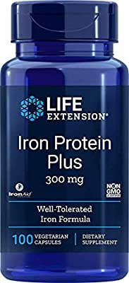 Life Extension Iron Protein Plus (300mg, 100 Capsules) from Life Extension