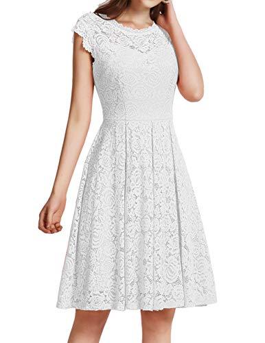 Meetjen Damen Festliche Cocktailkleid Elegante Abendkleid Hochzeitskleid Knielang Brautjungfern Midi Spitzenkleider Weiß White 2XL
