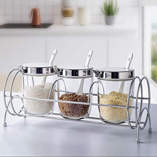LYMUP Juego de tarros de condimentos para el hogar, caja de condimentos con combinación de sal, botella de vidrio para condimentos, caja de almacenamiento de suministros de cocina (tamaño: B)