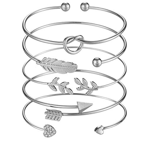 Softones 5pcs Bangle Silver Bracelets for Women Girls Heart|Olive Leaf|Arrow|Feather|Knot Heart Open Cuff Bracelet Set Adjustable