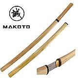 MAKOTO Handmade Sharp Samurai Shirasaya Katana Sword w/High Gloss Wood Saya