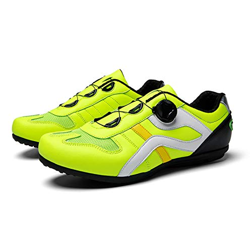 Sebasty MTB Bicicleta de Montaña Hombres Mujeres Bicicleta de Montaña Goma Sintética Transpirable Impermeable Zapatos de Ciclismo Sin Bloqueo 39-46 4 Colores,Green-45