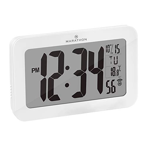 Marathon Commercial Grade Panoramic Autoset Atomic Digital Wall Clock with Table or Desk Stand, Date, and Temperature, 8 Time Zone, Auto DST, Self Setting, Self Adjusting, Batteries Included (White)