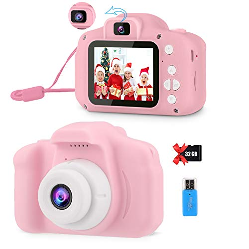 POSO Kids Camera for 3 4 5 6 7 Year Old Grils, Digital Selfie Camera for Kids with Fun Games, Best Christmas Birthday Gifts for Kids, New Year Fun Gift Toy for Toddlers with 32GB SD Card