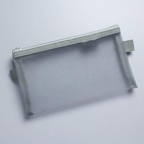 Estuche de malla transparente simple para lápices de oficina, estudiante de nailon, suministros escolares, F