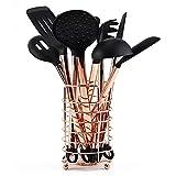 Set di utensili da cucina in silicone, manico placcato in rame, antiaderente, resistente al calore (oro rosa)