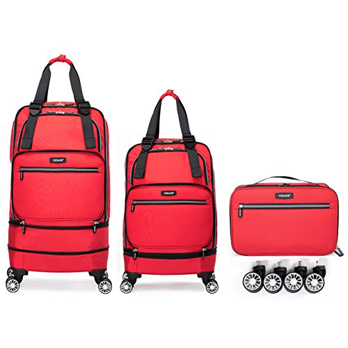 wheeled spinners Foldable Luggage Bag with Spinner wheels,Expandable Collapsible Rolling Duffel Bag,Carry On Luggage 22x14x9/Checked Luggage for Travel (2 in 1), Red
