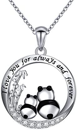 925 Sterling Silver I Love You for Always and Forever Panda Mom and Baby Mother and Child Necklace product image