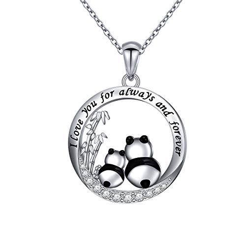 925 Sterling Silver I Love You for Always and Forever Panda Mom and Baby Mother and Child Necklace for Women Teen Girls Birthday Gift