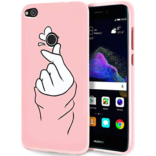 ZhuoFan Cover Huawei P8 Lite 2017/P9 Lite 2017, Custodia Silicone Rosa con Disegni Ultra Slim TPU Morbido Antiurto Cartoon Bumper Case Protettiva per Huawei P8Lite 2017/P9Lite 2017, Finger Love