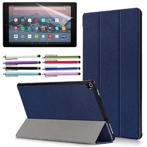 EpicGadget Case for Amazon Fire HD 10 Inch Tablet (9th 7th Generation, 2019 2017 Released) - Lightweight Tri-fold Stand Auto Wake Sleep Folio Cover Case + 1 Screen Protector and 1 Stylus (Blue)