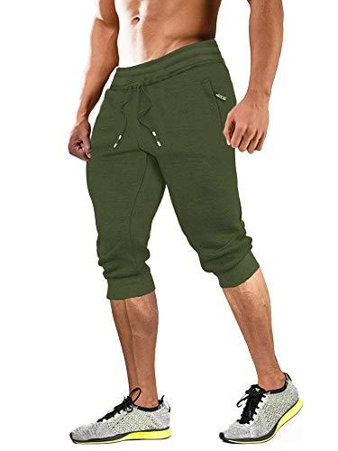 MAGCOMSEN Herren 3/4 Trainingshose Sommer Gym Running Shorts Funktionshose Männer Baumwolle Fitnesshose Atmungsaktiv Outdoor Shorts mit Multi Taschen, Armeegrün, 34