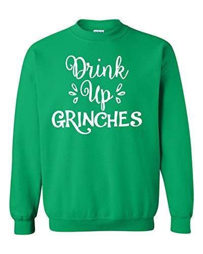 All Things Apparel Drink Up Grinches Unisex Crew Sweatshirt - 2XL Irish Green (ATA150)