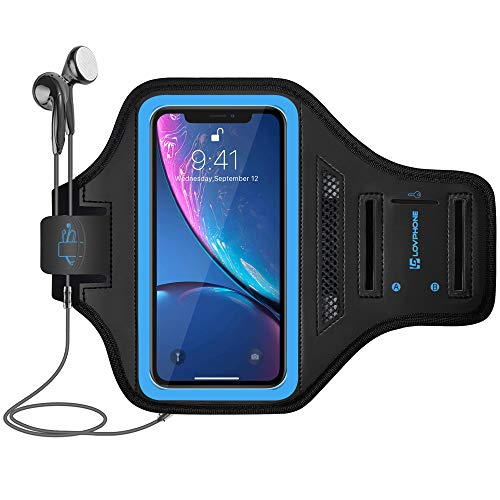 LOVPHONE Armband for iPhone 11/iPhone 11 Pro/iPhone XR, Waterproof Sport Outdoor Gym Running Key Holder Card Slot Phone Case Bag Armband,Water Resistant and Sweat-Proof (Blue)
