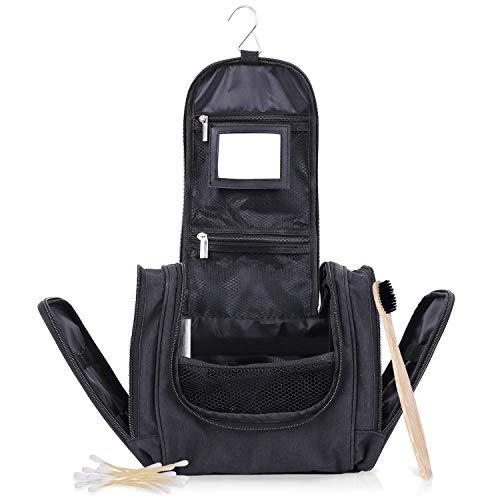 Kadal Kulturtasche zum Aufhängen (groß) - nachhaltiger Kulturbeutel für Damen & Herren mit Spiegel - inkl. Zahnbürste & Wattestäbchen aus Bambus