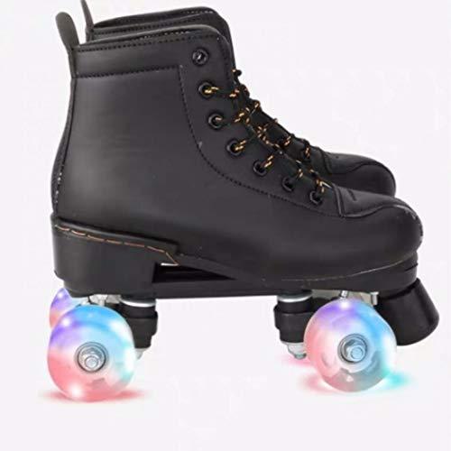 Women's Roller Skates PU Leather High-top Roller Skates Four-Wheel Roller Skates Shiny Roller Skates for Girls Unisex (Black Flash Wheel,US: 9)