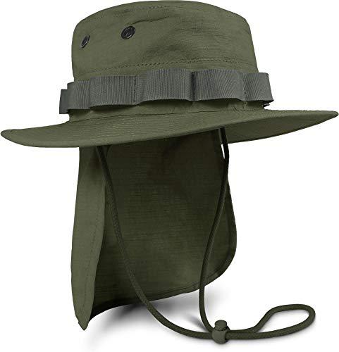 normani Boonie Hat Krempen Outdoor Hut 'Junglescout' mit abnehmbarem Nackenschutz für den Sommer Farbe Oliv Größe L